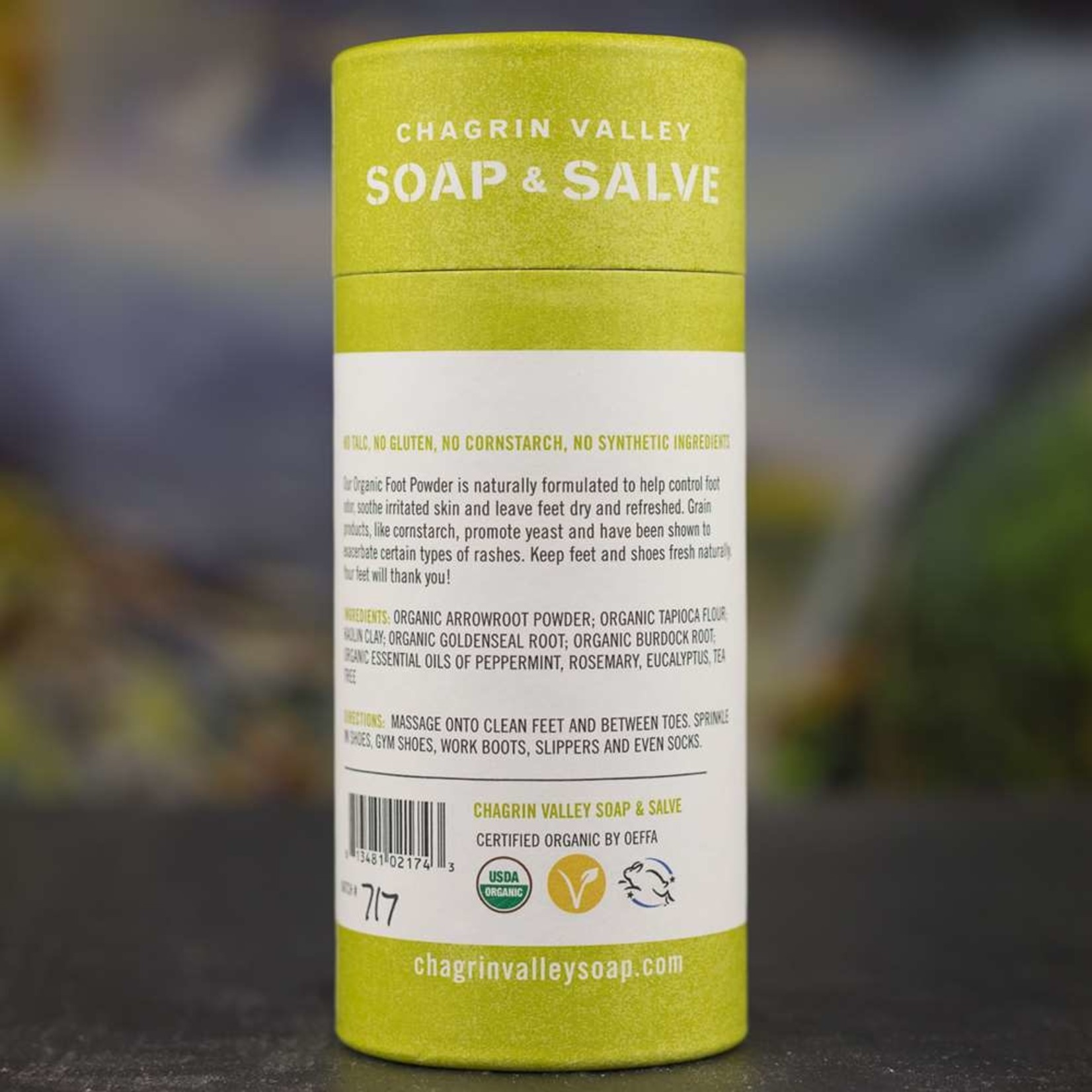 Chagrin Valley Soap and Salve Refreshing & Invigorating scent 4.5oz Foot Powder