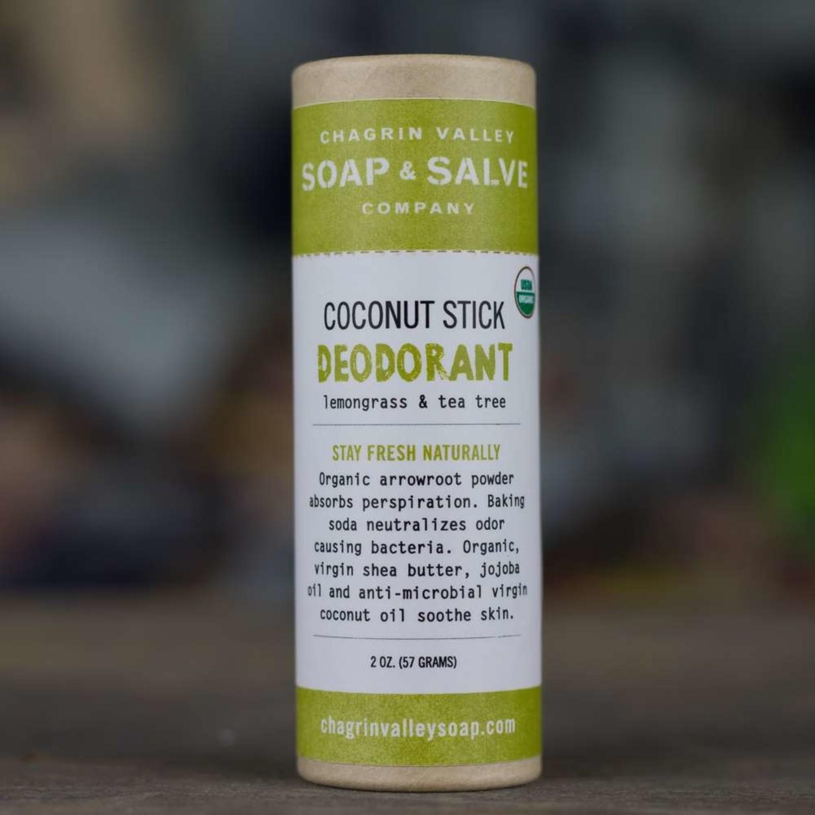 Chagrin Valley Soap and Salve Lemon Grass &Tea Tree Scent 1.5oz Coconut Stick Deodorant