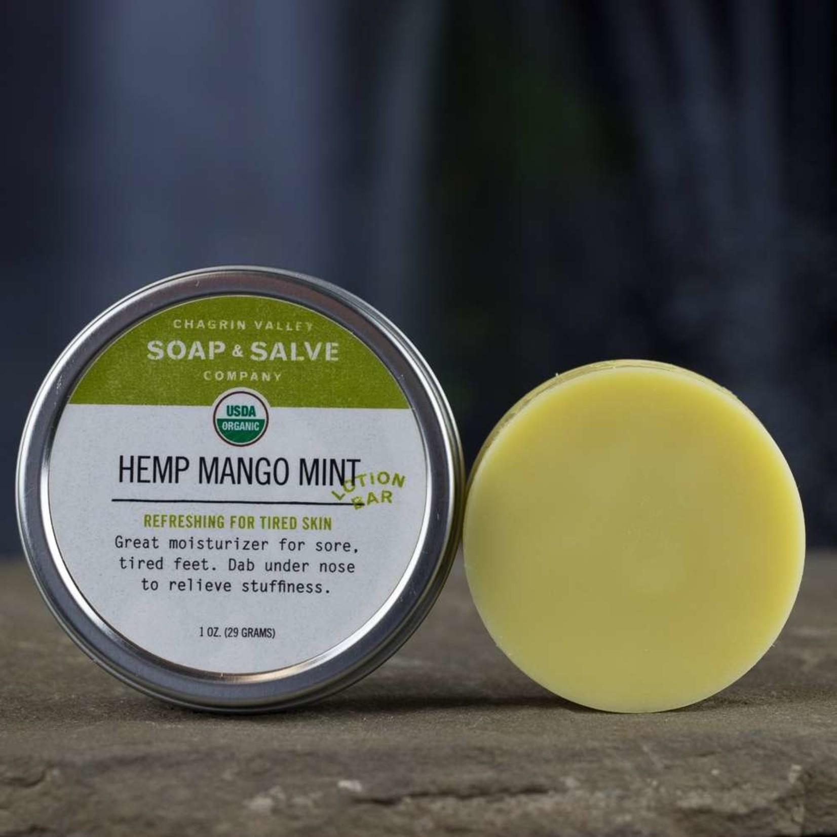 Chagrin Valley Soap and Salve Hemp Mango Mint Lotion Bar 1oz Tin