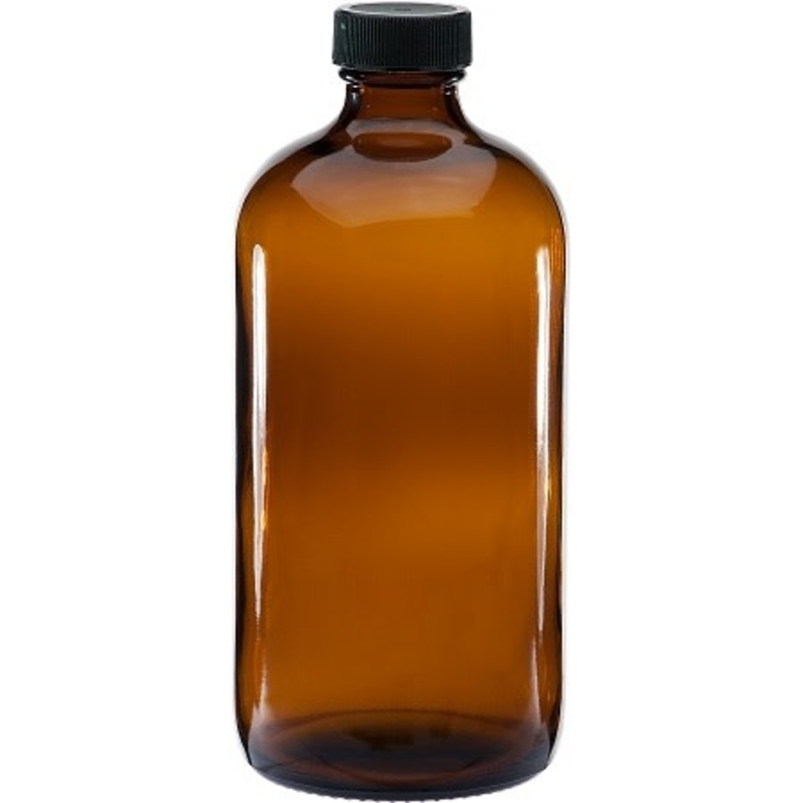 16oz Amber Glass Round Bottle Container