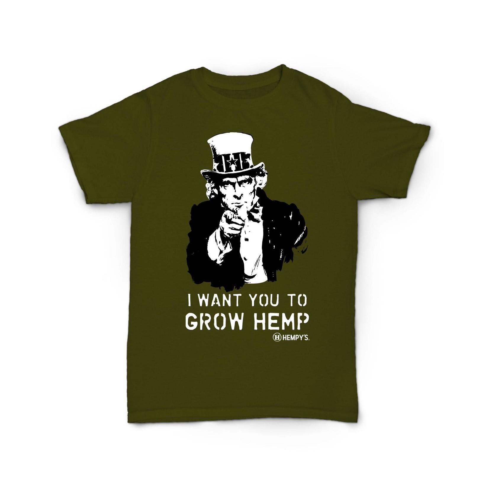 Hempy's Hemp T Shirt Uncle Sam Green