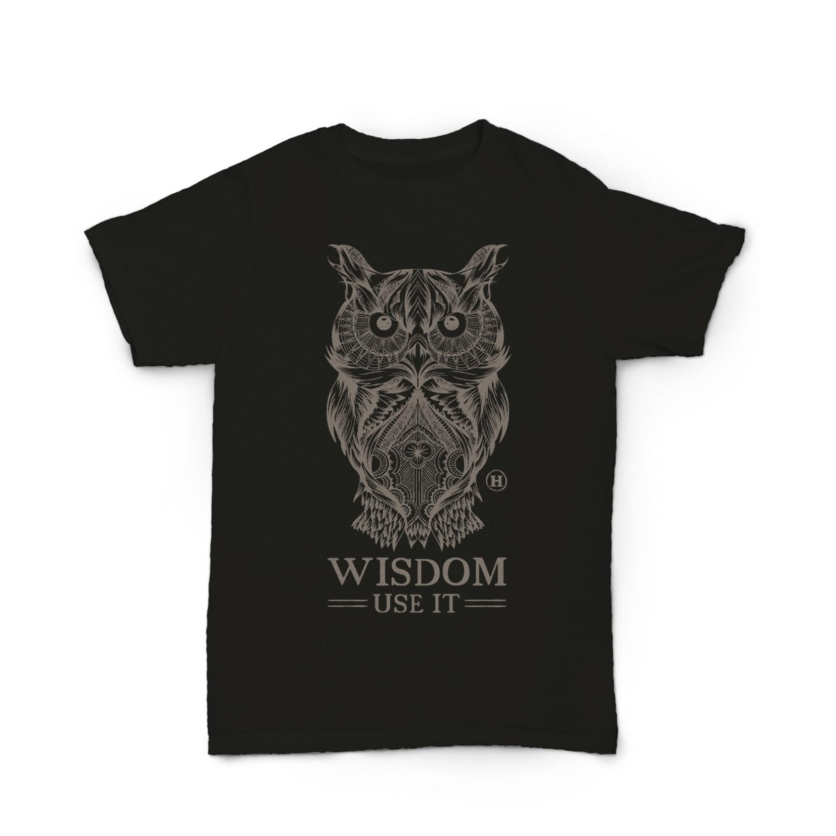 Hempy's Hemp T Shirt Totem Owl Series Black