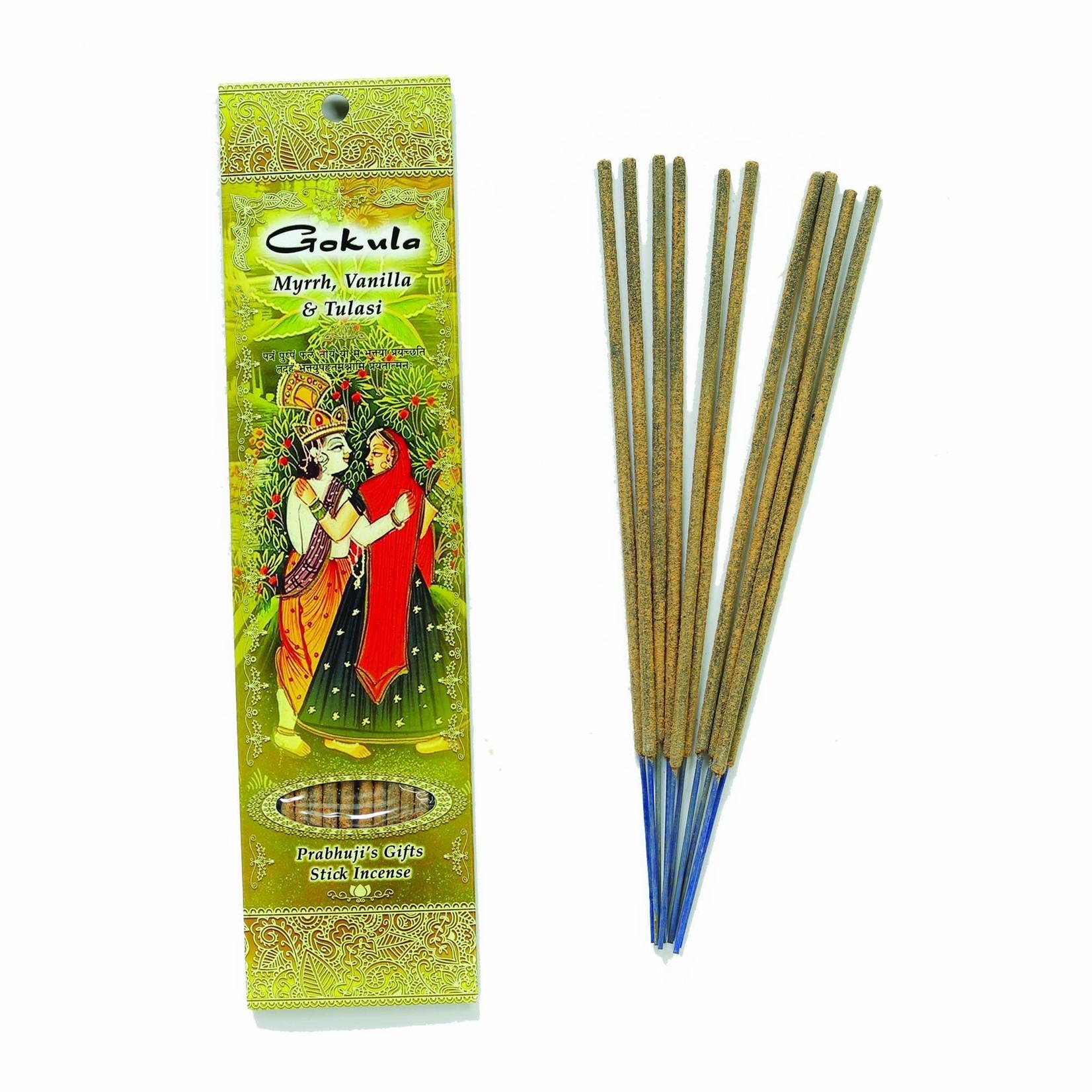 Prabhujis Gifts Gokula - Myrrh, Vanilla and Tulsi Incense Sticks