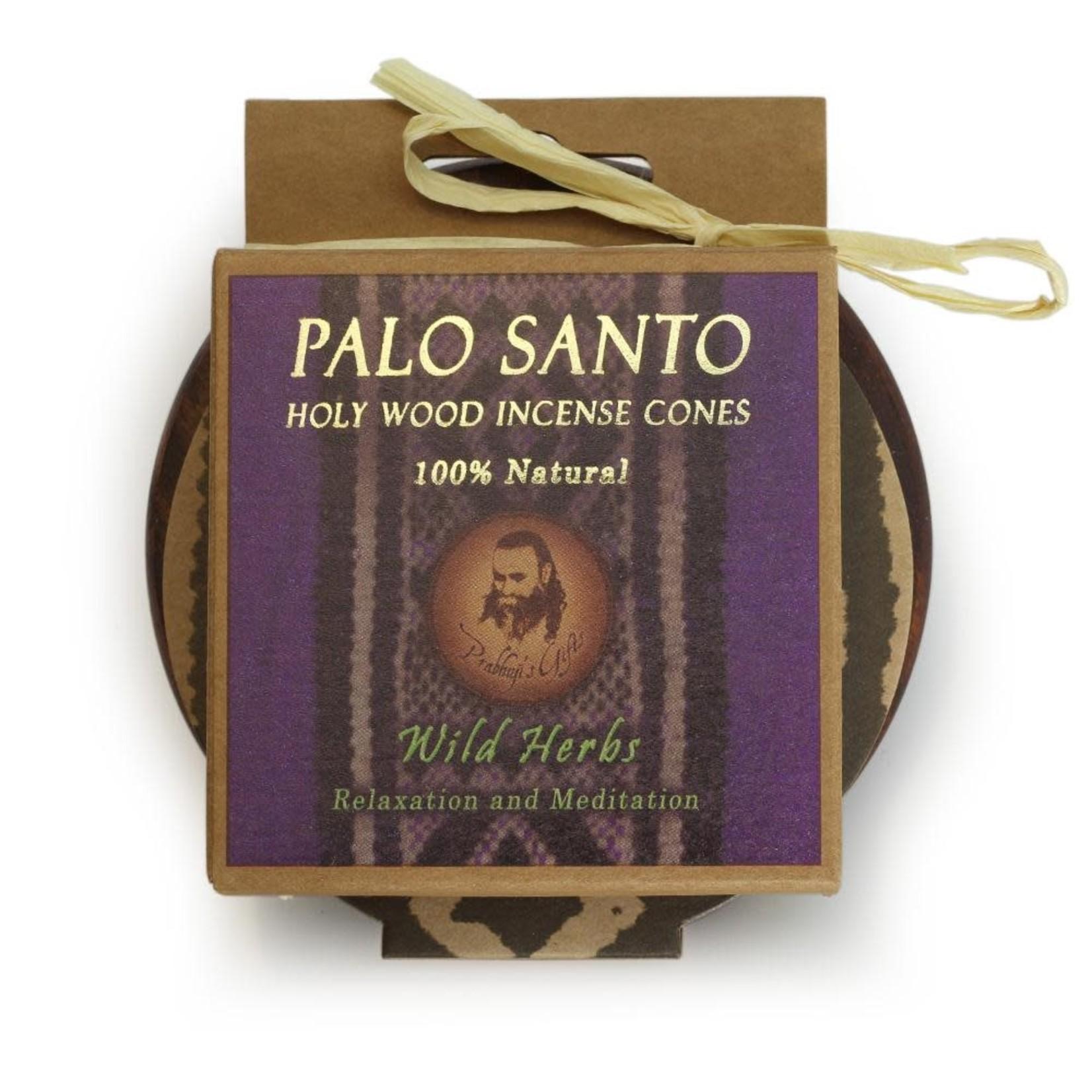 Prabhujis Gifts Palo Santo Wild Herbs Cones with Burn