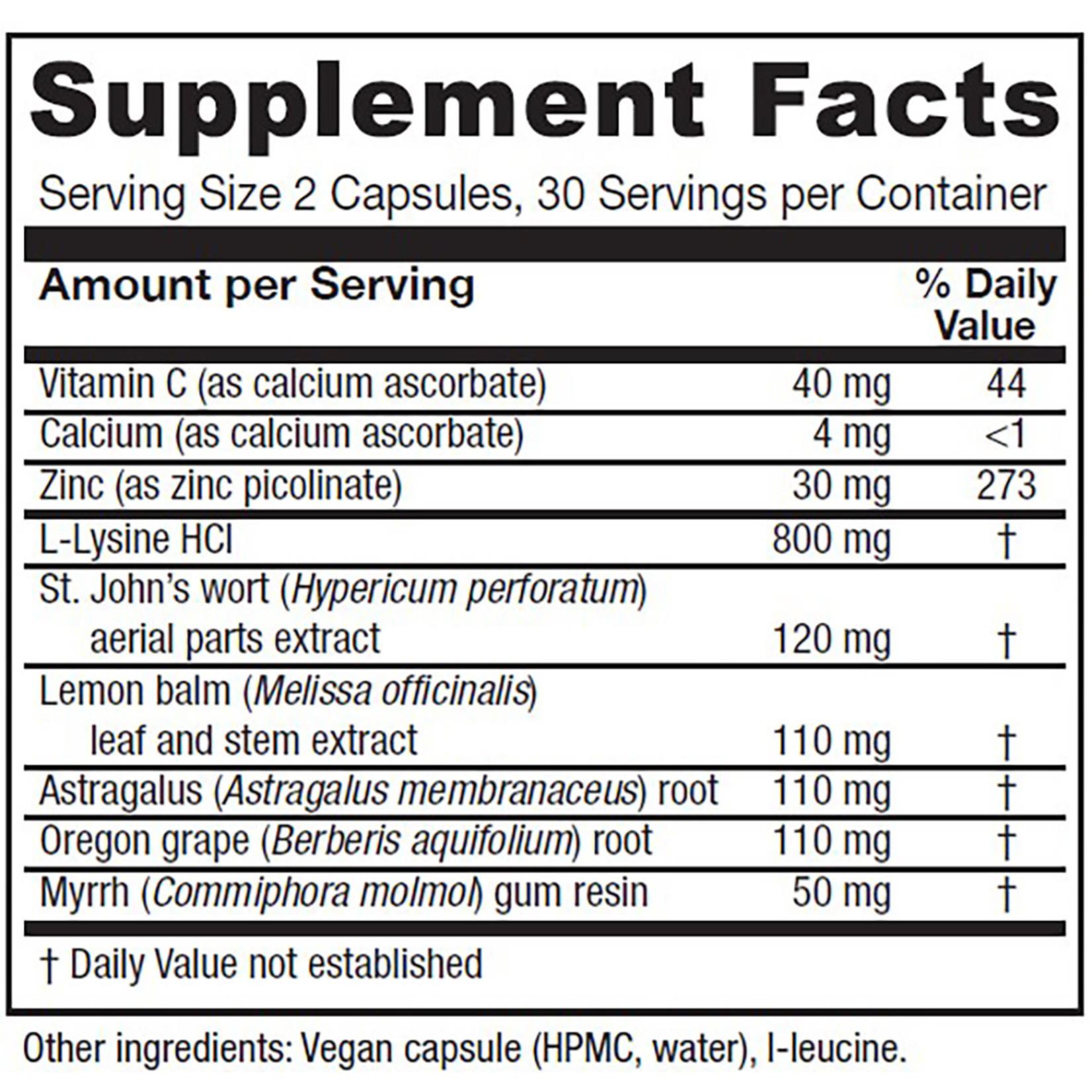 Vitanica Lysine Extra Immune Support 60 Vegi caps