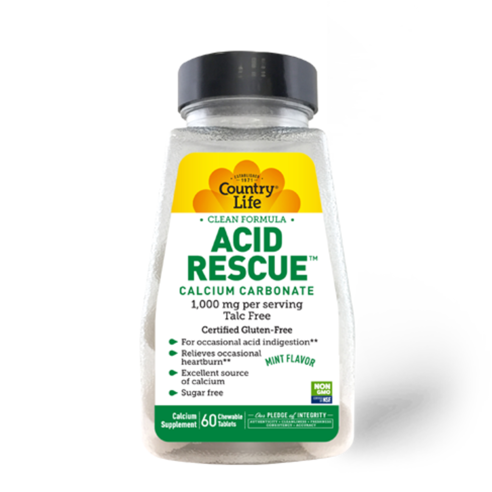Country Life Country Life Acid Rescue Calcium Carbonate 60 Chewable tablets