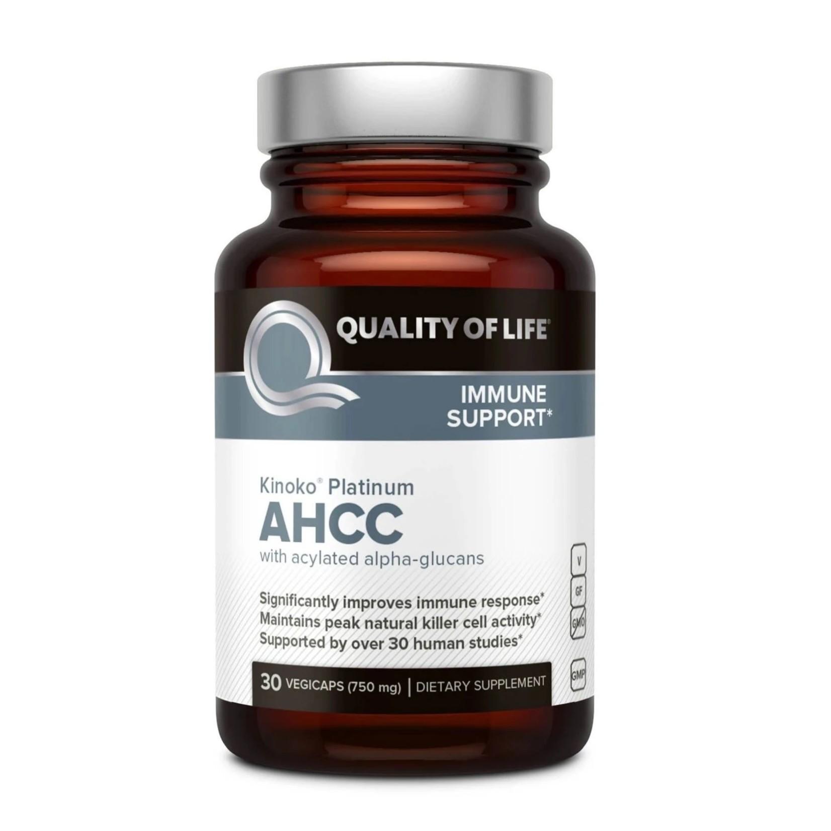 Quality of Life QOL Kinoko Platinum AHCC with acylated alpha-glucans 30ct