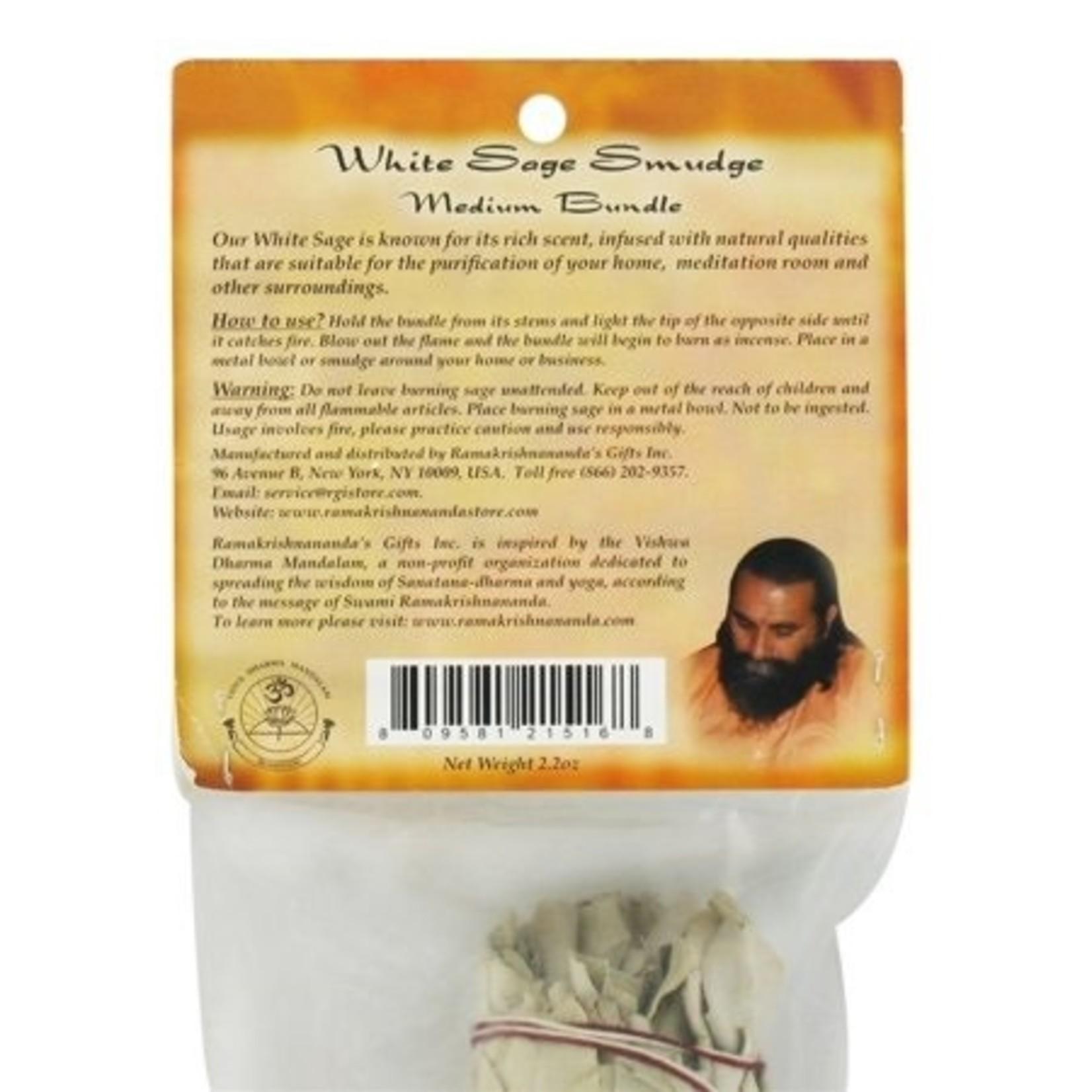 Prabhujis Gifts White Sage Smudge Stick - Medium Bundle