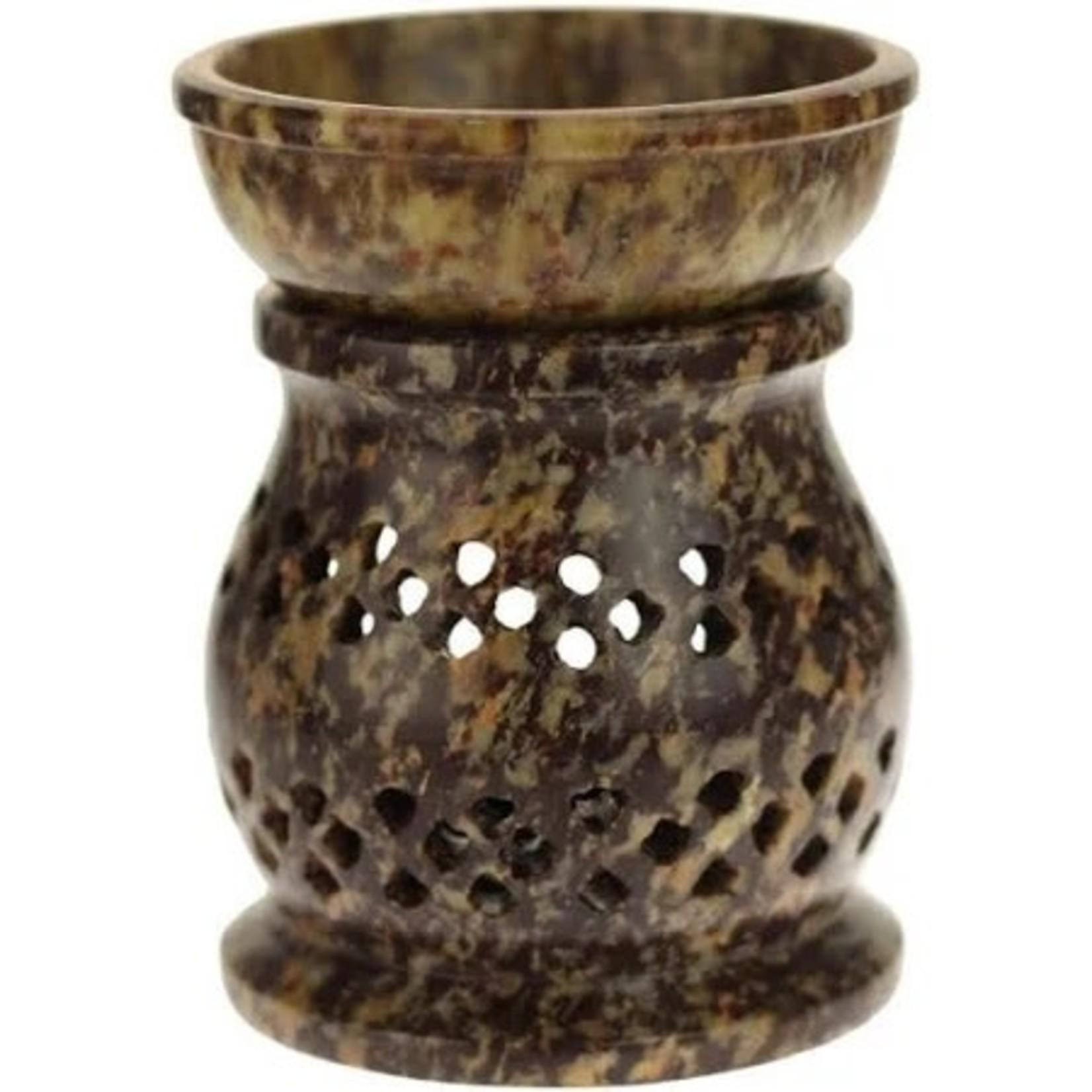 Prabhujis Gifts Soapstone Oil Burner Jali Medium