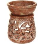 Prabhujis Gifts Natural Soapstone Oil Burner Round Leaves