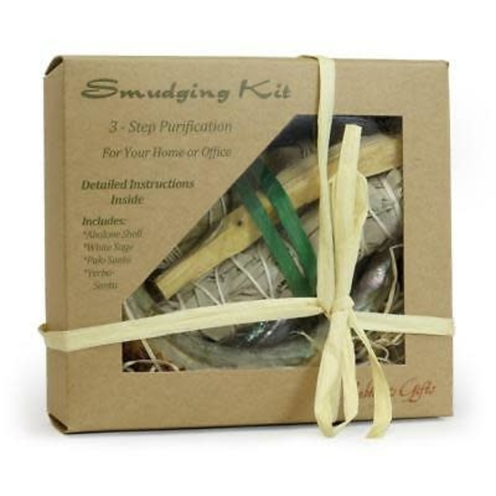 Prabhujis Gifts Smudging Kit Palo Santo - Sage - Yerba Santa - Abalone Shell - With Booklet