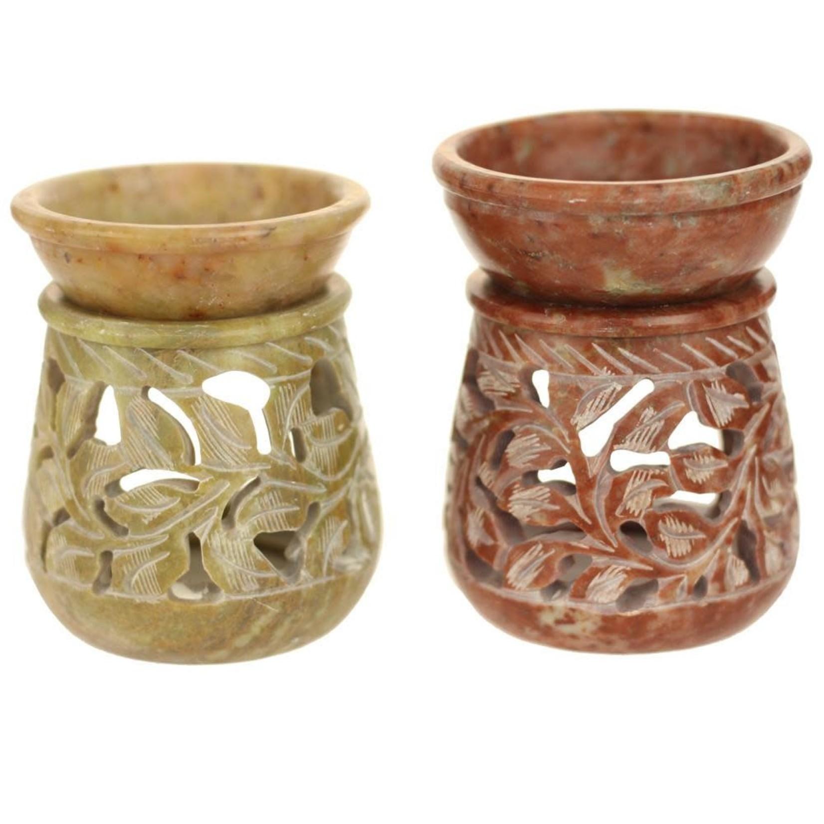 Prabhujis Gifts Soapstone Oil Burner Round Jali Small