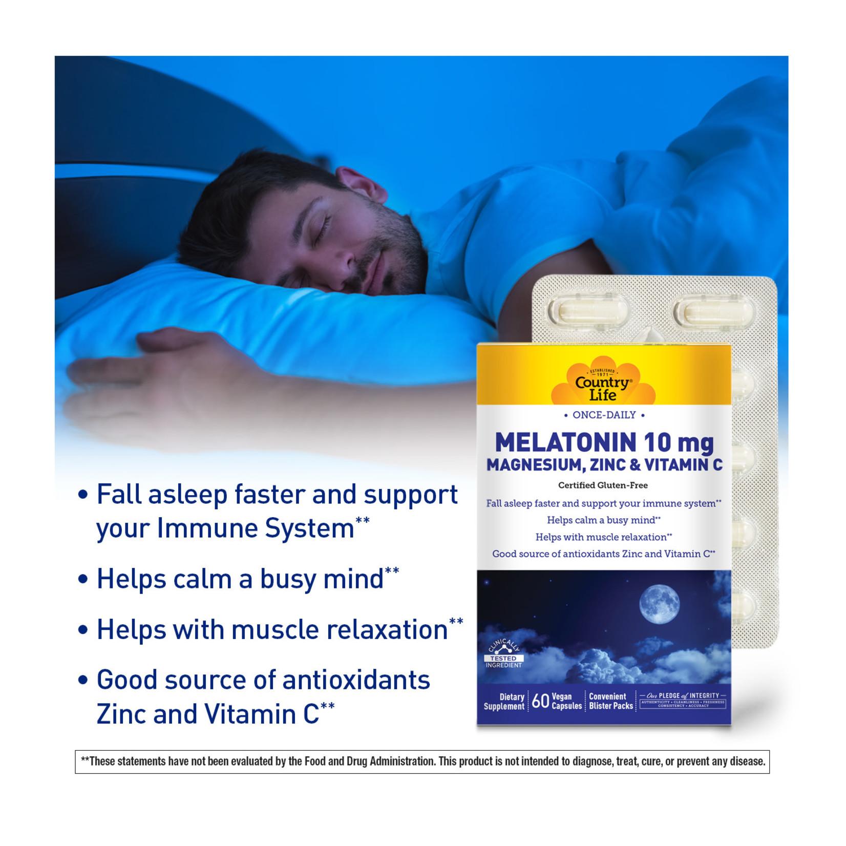 Country Life Country Life Melatonin 10mg  with Magnesium, Zinc, Vitamin C  60 capsules