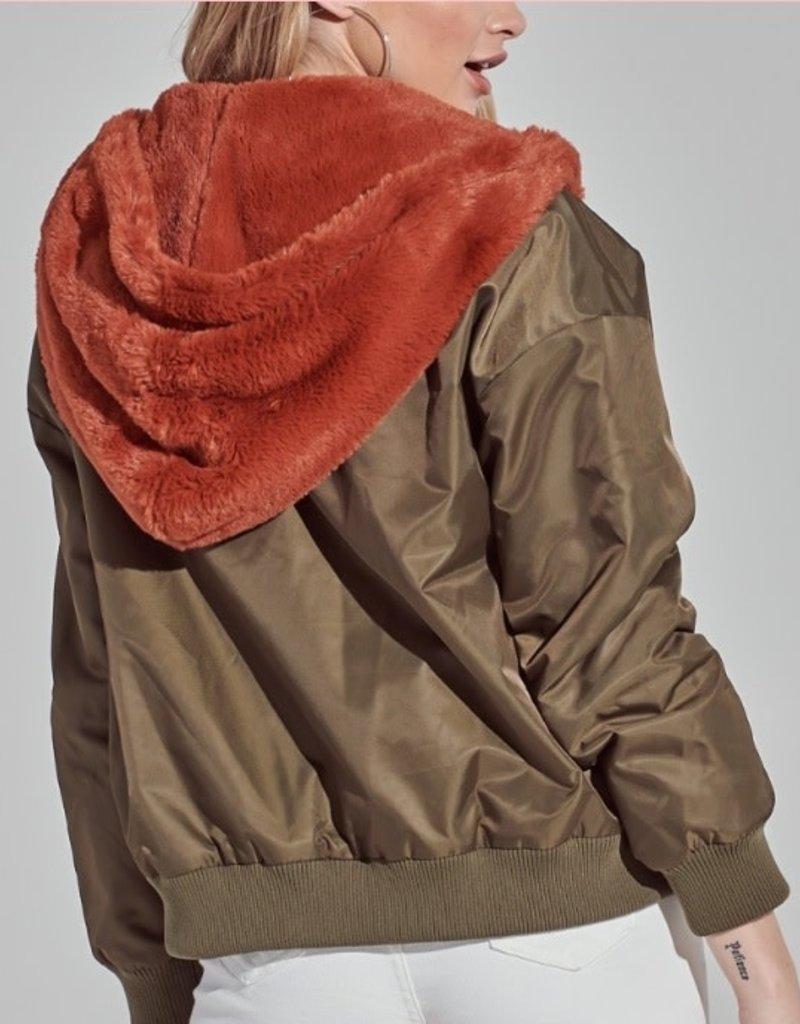 Bomber Jacket Reversible w/ Fur Detail