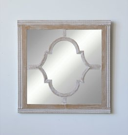 Square Wood & Glass Wall Mirror Whitewashed