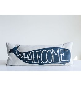 "32""L x 12""H Cotton Pillow ""Whalecome"