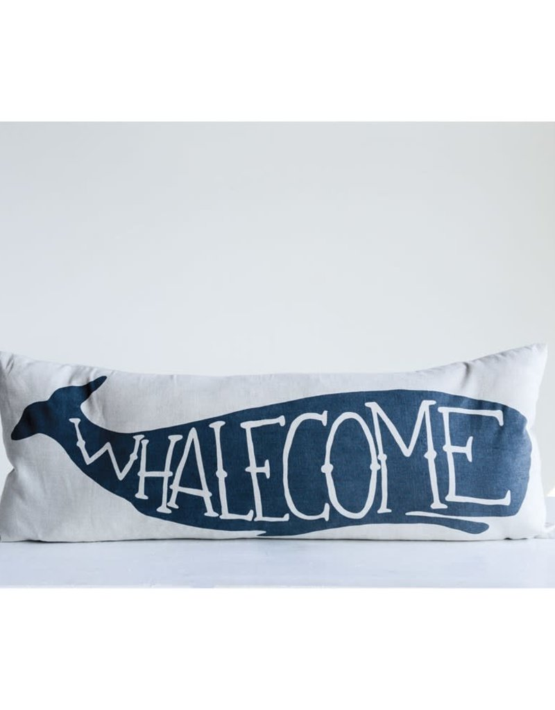 "32""L x 12""H Cotton Pillow ""Whalecome"