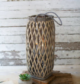 Kalalou TALL GREY SQUARE WILLOW LANTERN - MEDIUM
