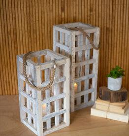 Kalalou white washed square recycled wood lantern w/glass SM