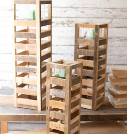 Kalalou tall square recycled wood candle towers w/glass LG