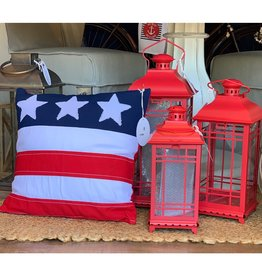 Melrose Red Metal and Glass Lantern - LG