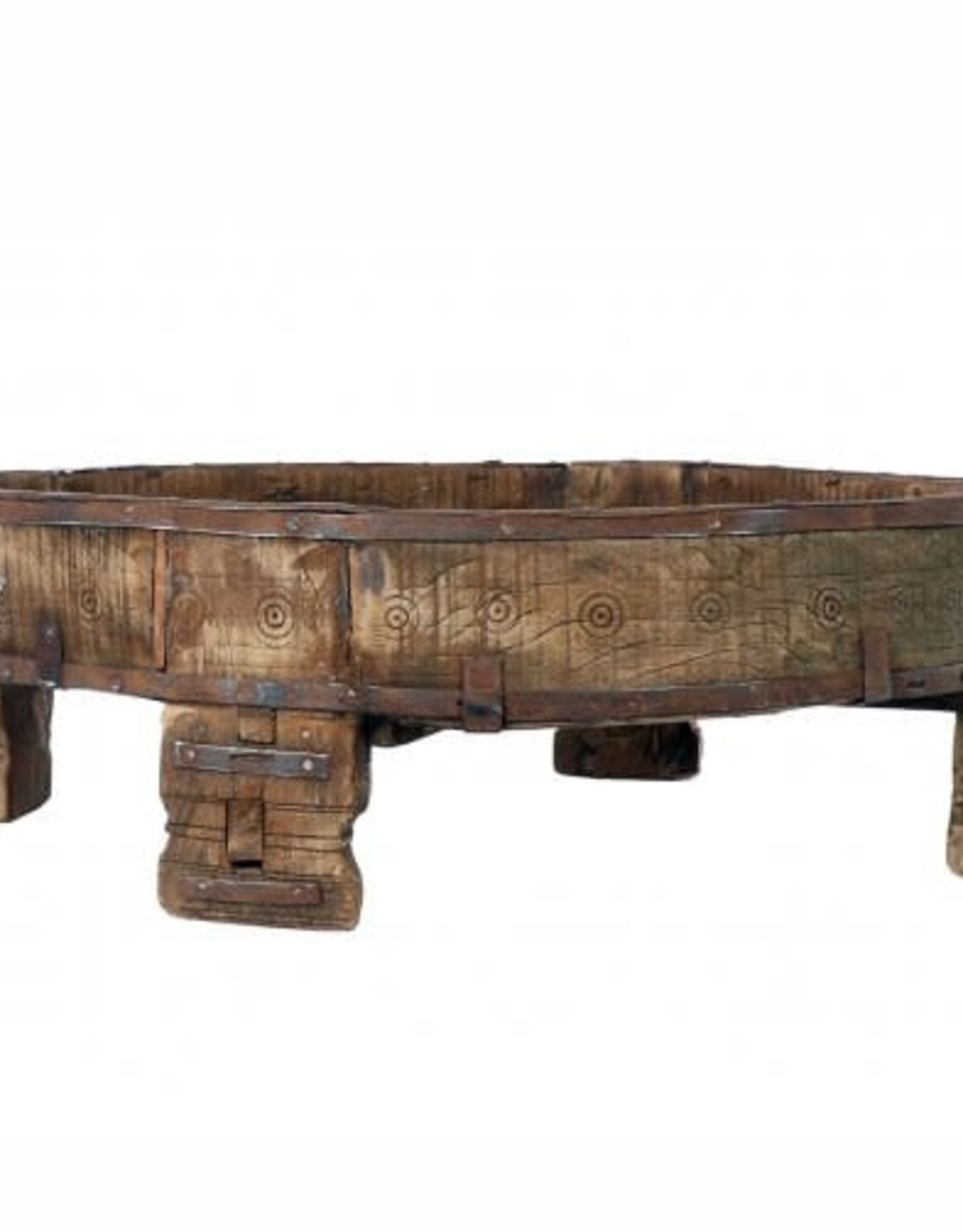 Blue Ocean Traders Carved Village Grinding Table- Bali