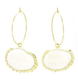 Salty Cali Cockle Shell Hoops - Salty Shells gold plating