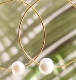 Salty Cali Fresh Water Pearl Hoops - Salty Shells - gold plating