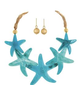 Rain Jewelry Blue Starfish Necklace + Earrings Set