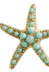 Rain Jewelry Gold + Green Starfish Post Earring