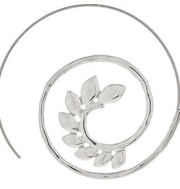 Rain Jewelry Leaf Swirl Thread Earring Silver