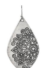 Rain Jewelry Mandala Etching Silver Earring