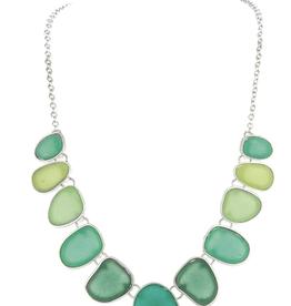 Rain Jewelry Multi Blue Sea Glass Necklace + Earring