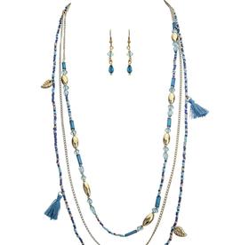 Rain Jewelry Layered Bead Tassel Necklace + Earring