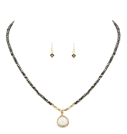 Rain Jewelry Grey Glass Pearl Necklace + Earring