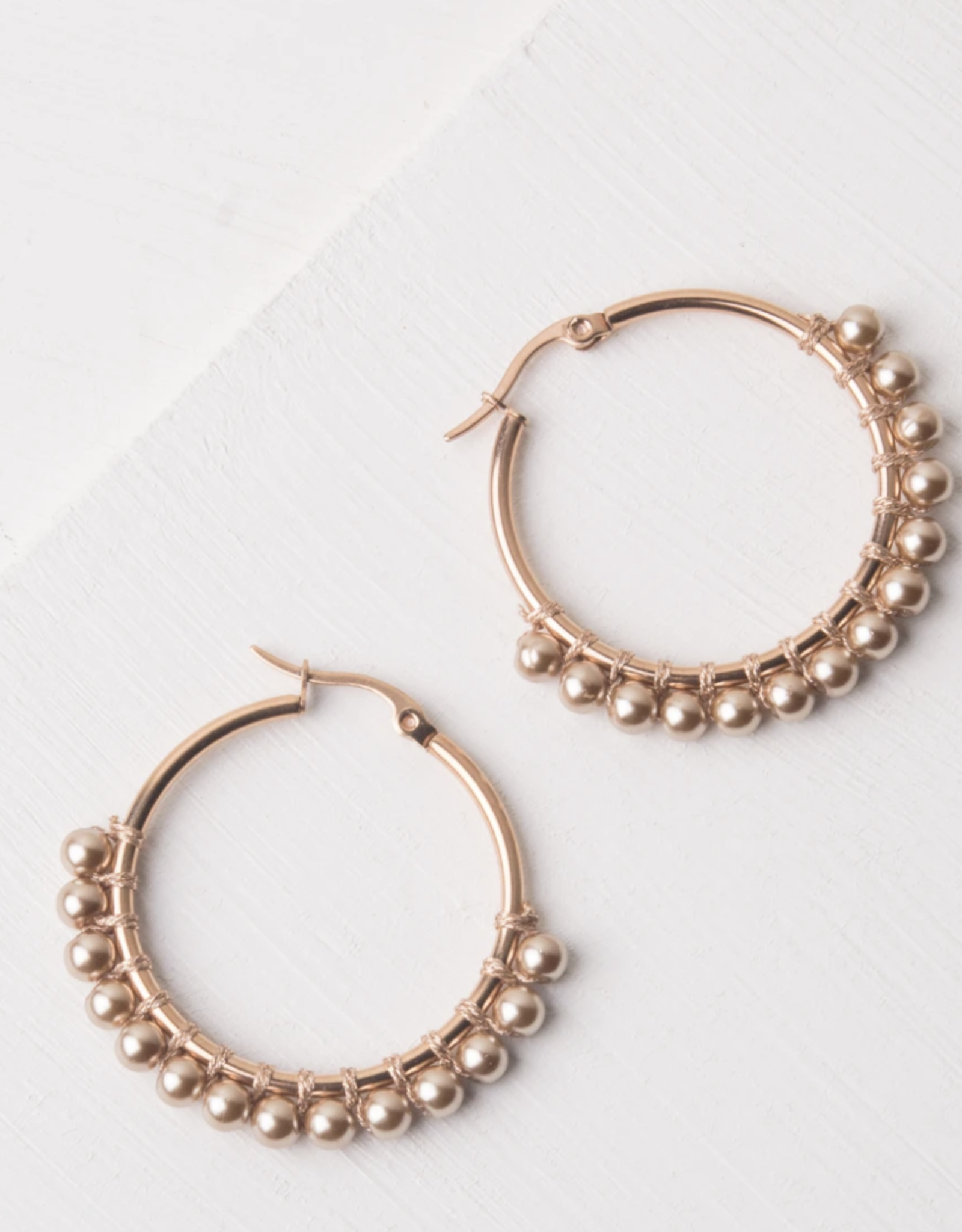 Lindy Large Rose Gold & Shell hoop earrings