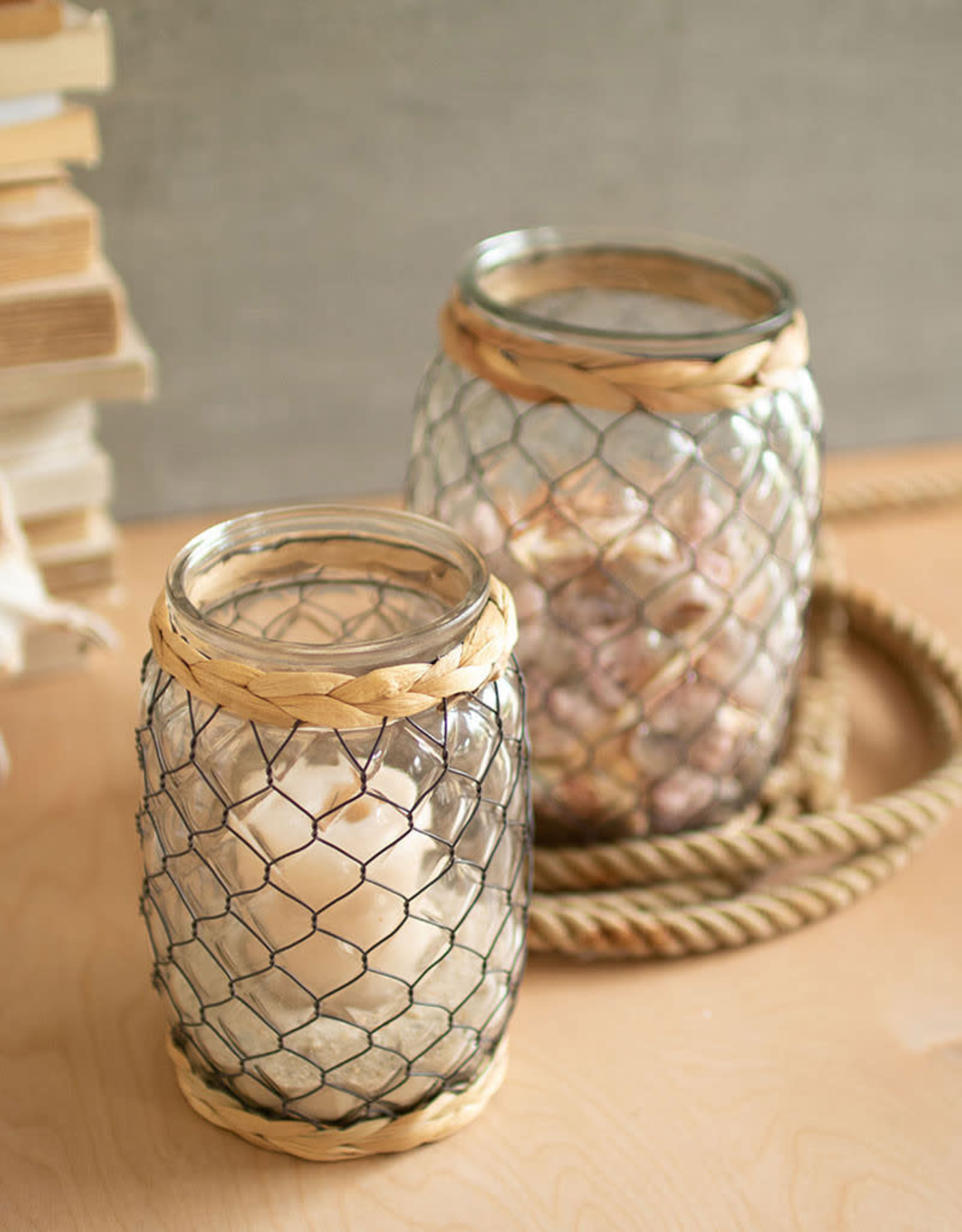 Kalalou wire wrapped vase w/seagrass detail - LG