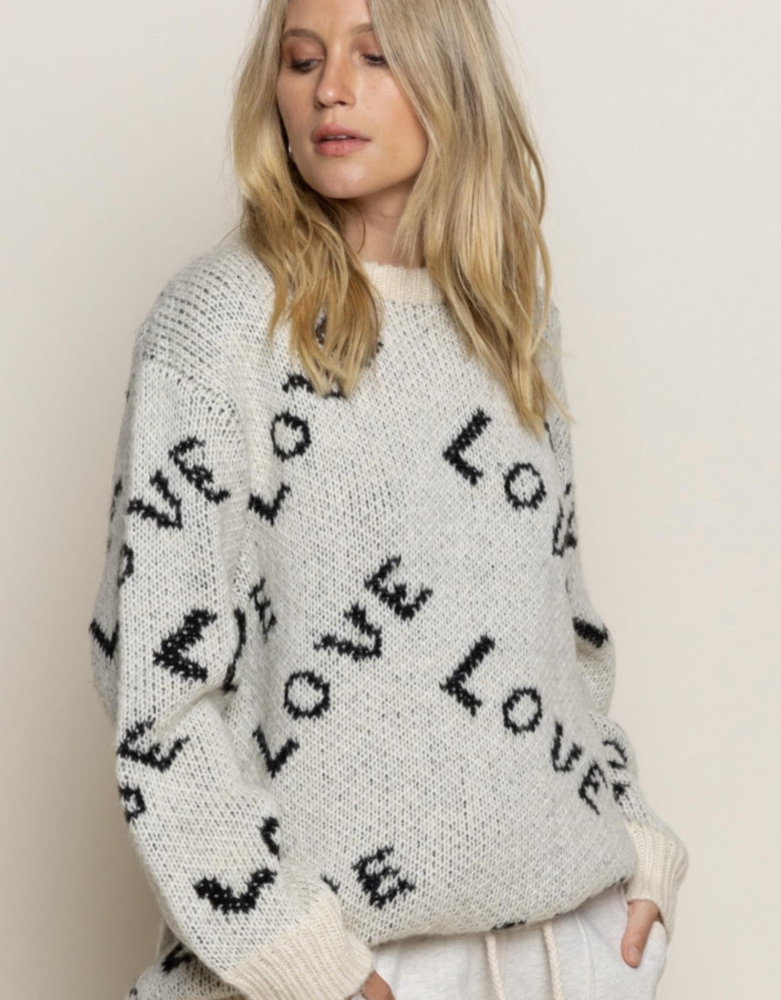 "POL Clothing ""Love"" Cream Multi Sweater"