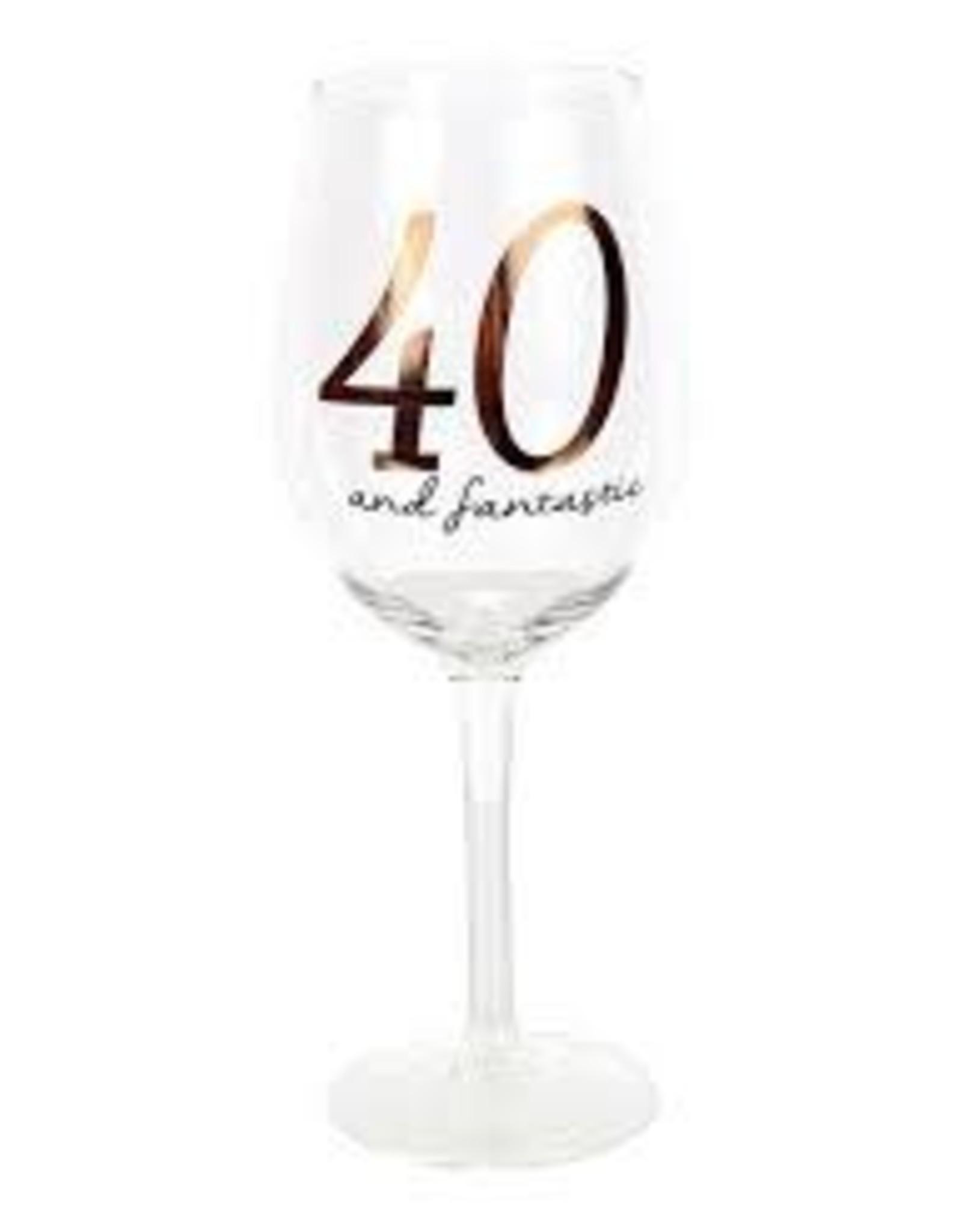 dei 40th Birthday Wine Glass