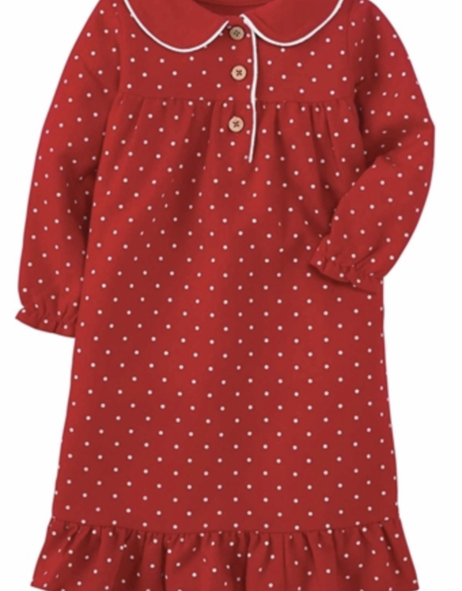 Polka Dot Flannel Gown - 2T-3T