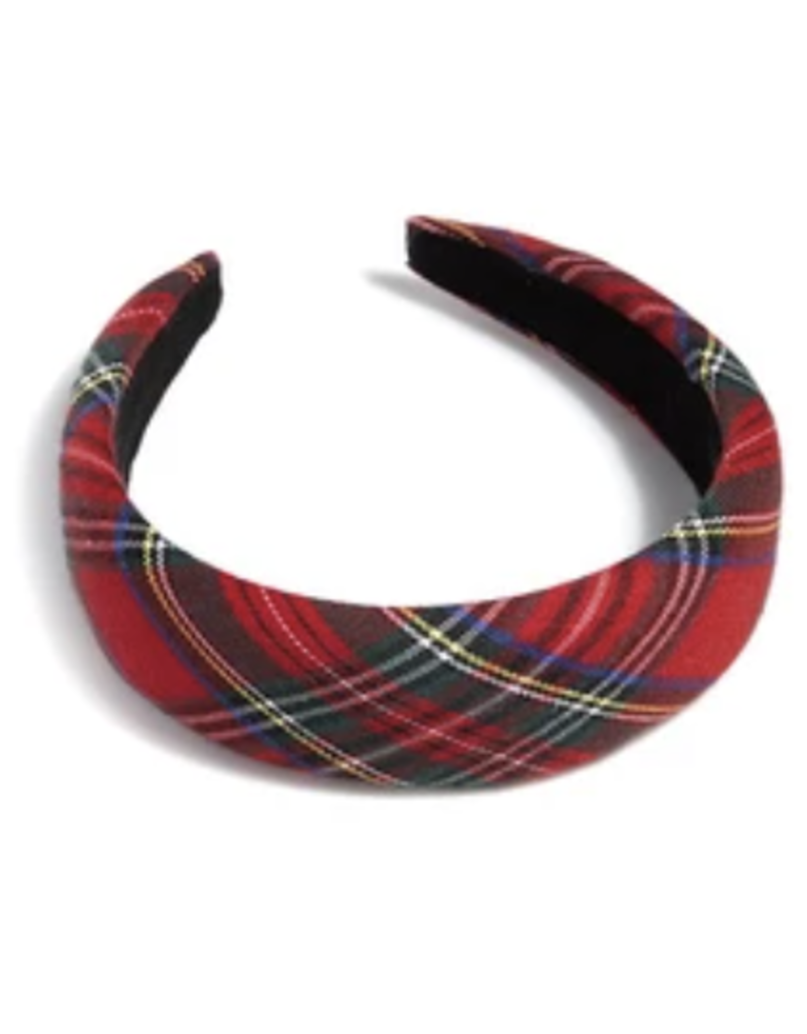 Padded Plaid Headband - Red