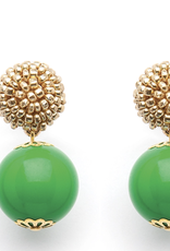 fornash Seed Bead Green Candy-gold earrings