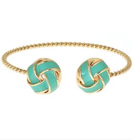 fornash Enamel twist aqua/gold bracelet