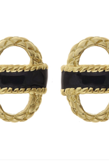 fornash Enamel basket earrings-black