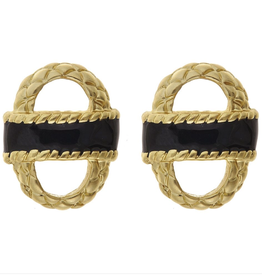 fornash Enamel basket earrings-black