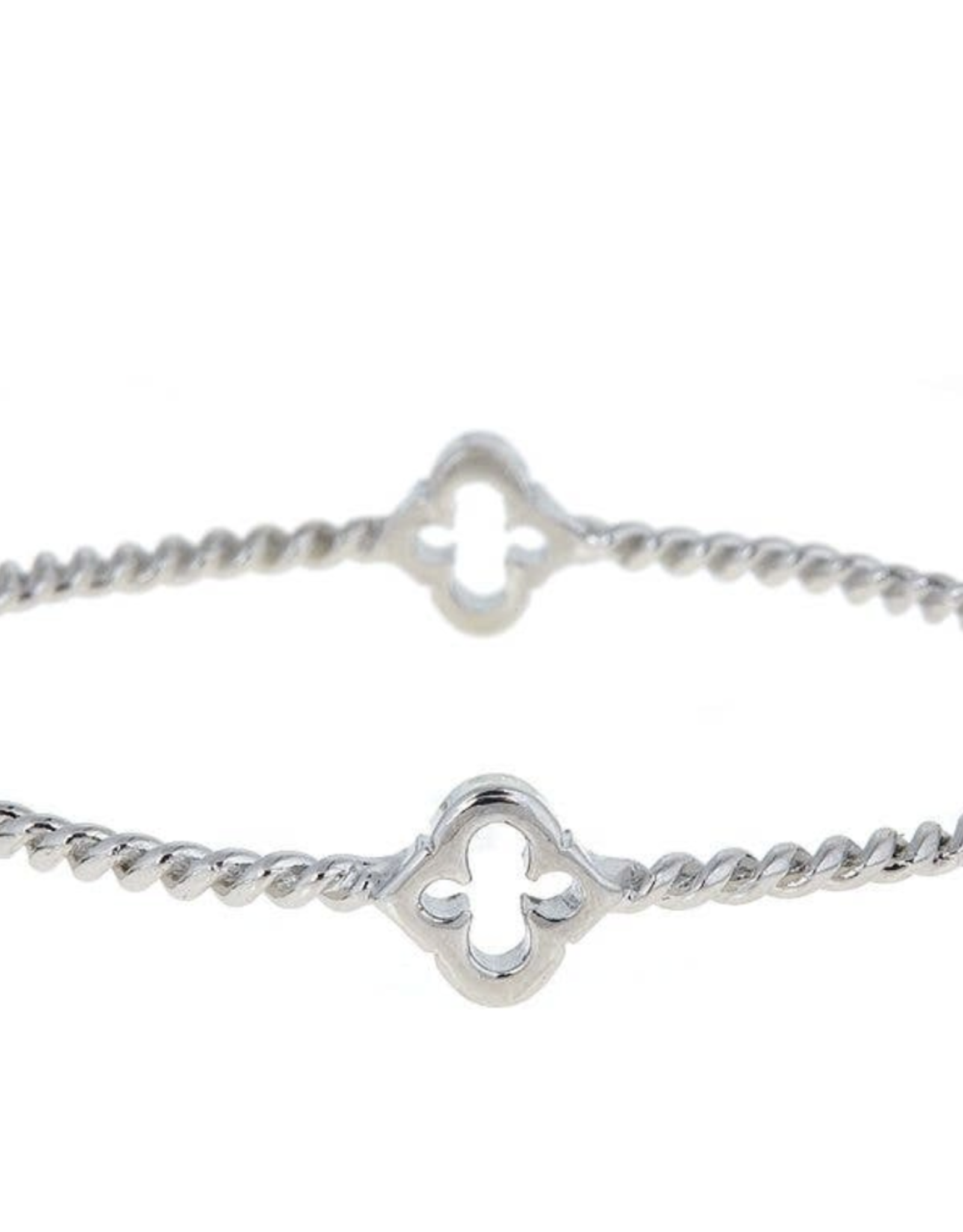 fornash Cut-Out Rope Spade Bangle-silver