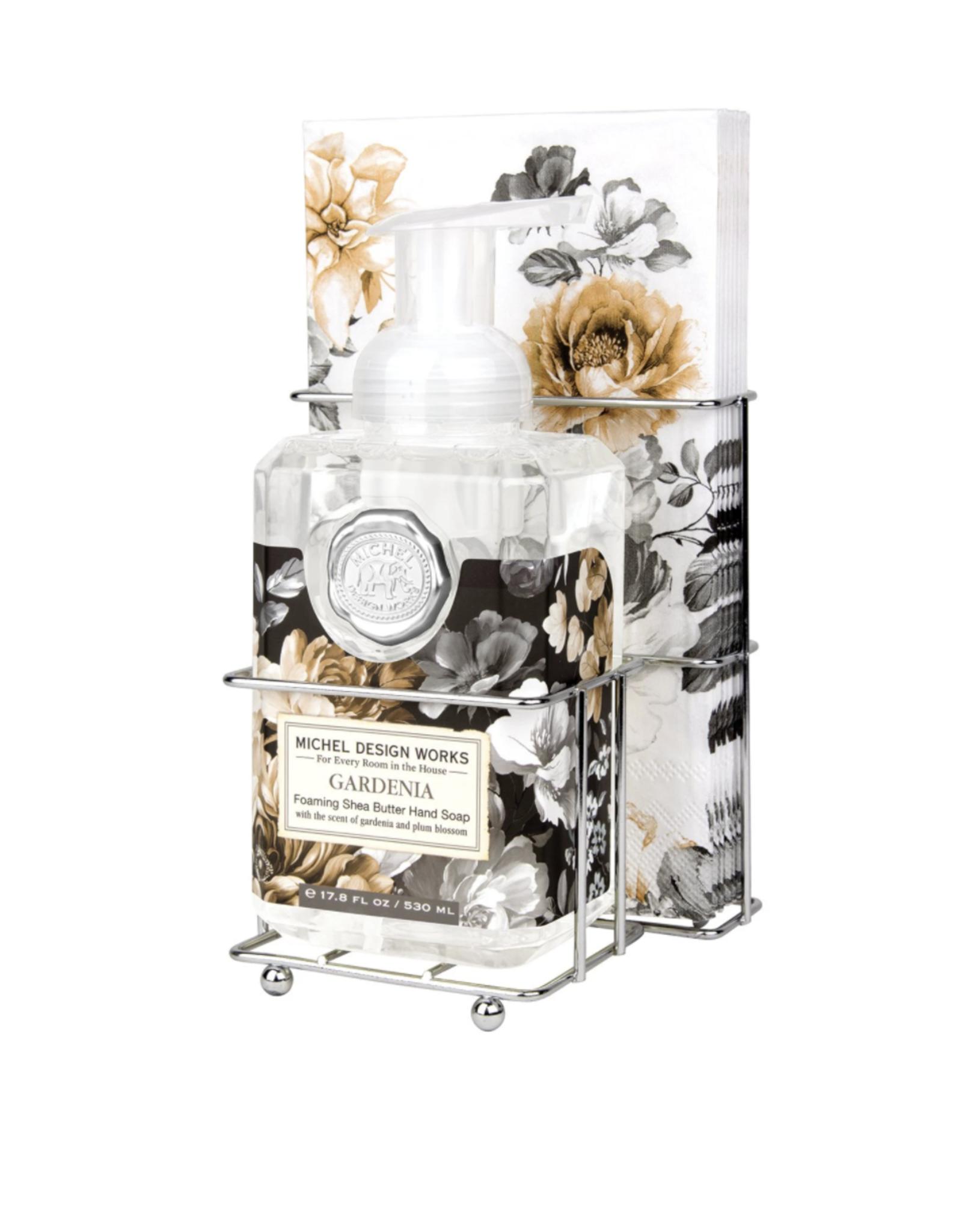 Michel Design Works Gardenia foaming soap and napkin set