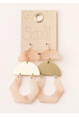 Sunstone /Gold  Cutout Earring