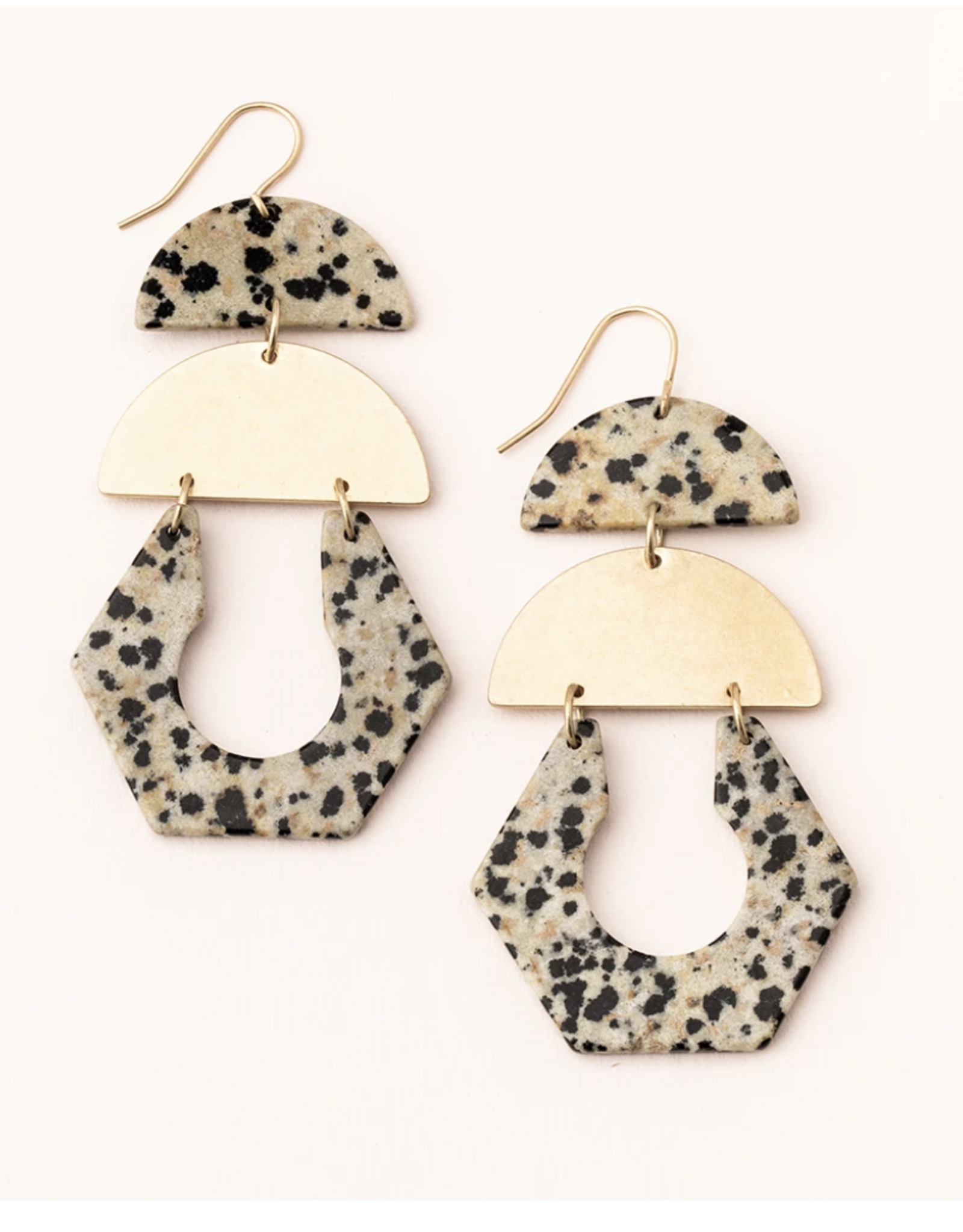 Dalmation/Jasper/Gold Earring