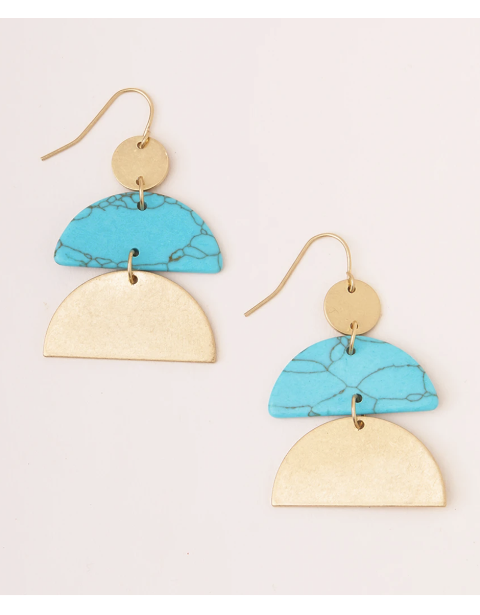 Turq./Gold Half Moon Stone Earring